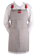 Apron in mesh of stainless steel